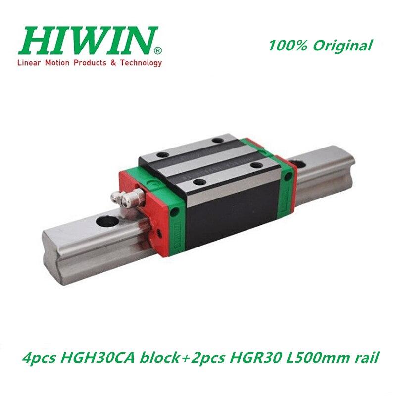 2 قطعة 100% الأصلي HIWIN HGR30 -500 متر دليل خطي السكك الحديدية 4 قطعة HGH30CA كتلة النقل الخطي ل نك