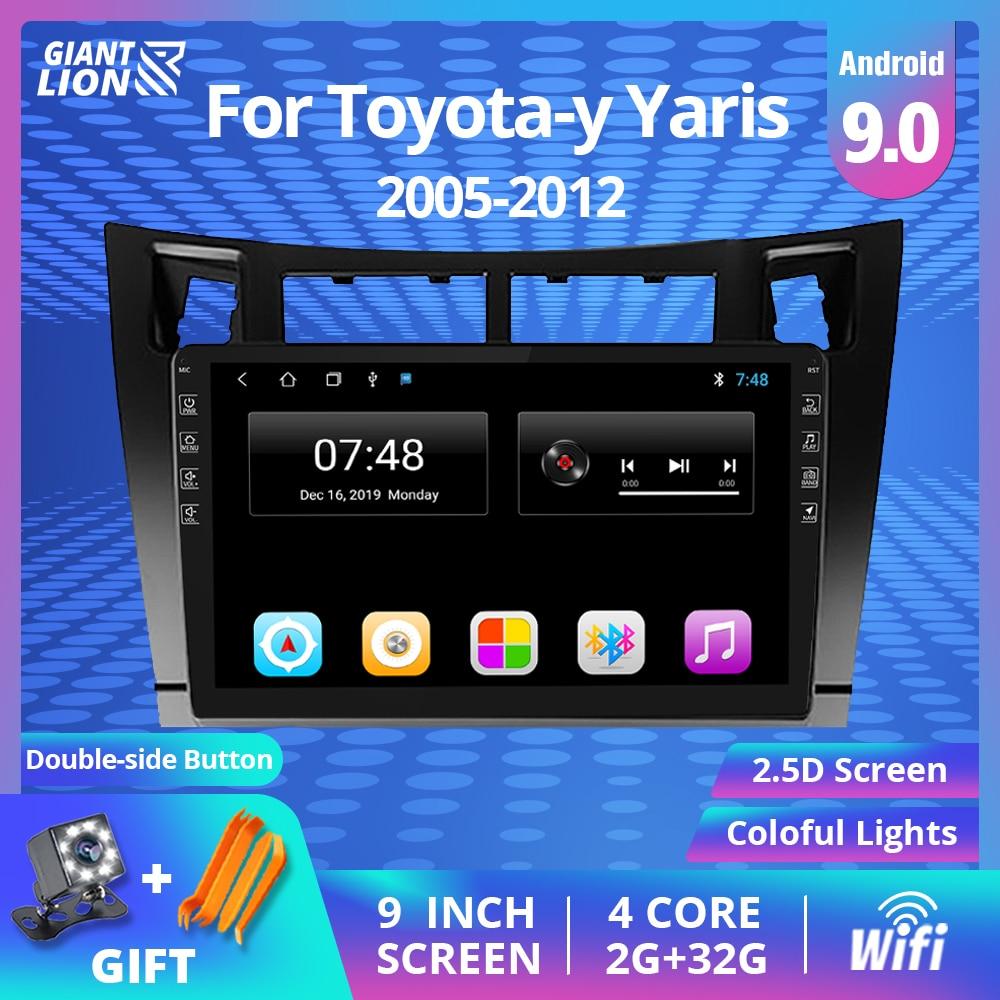 Android 9.0 Car RADIO For Toyota-y Yaris 2005-2012 9 Inch Car Multimedia DVD Player GPS Navigation B