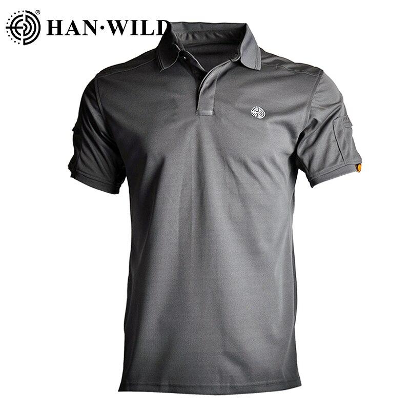 Купить с кэшбэком HAN WILD Tactical Army T-shirts Men Short Sleeve Quick Drying Polos Lightweight Outdoor Hiking Camping T-shirts Sports