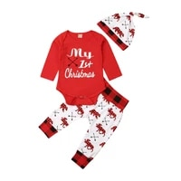 baby boys girls christmas clothes casual my first long sleeve romper trousers hat spring autumn baby kids xmas outfits