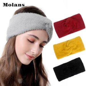 MOLANS Handmade Knotted Fluffy Headbands Autumn Winter Imitation Mink Cashmere Solid Hair Bands Simple Warm Women's Headband