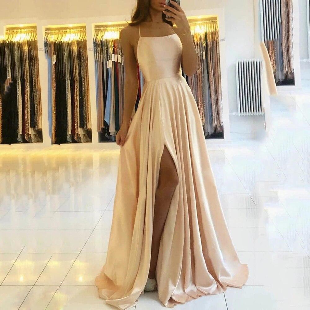 AE946 satin Dresses Evening Dress prom party Robe De Soiree Longue Formal Dress simple Spaghetti sexy slit коктейльные