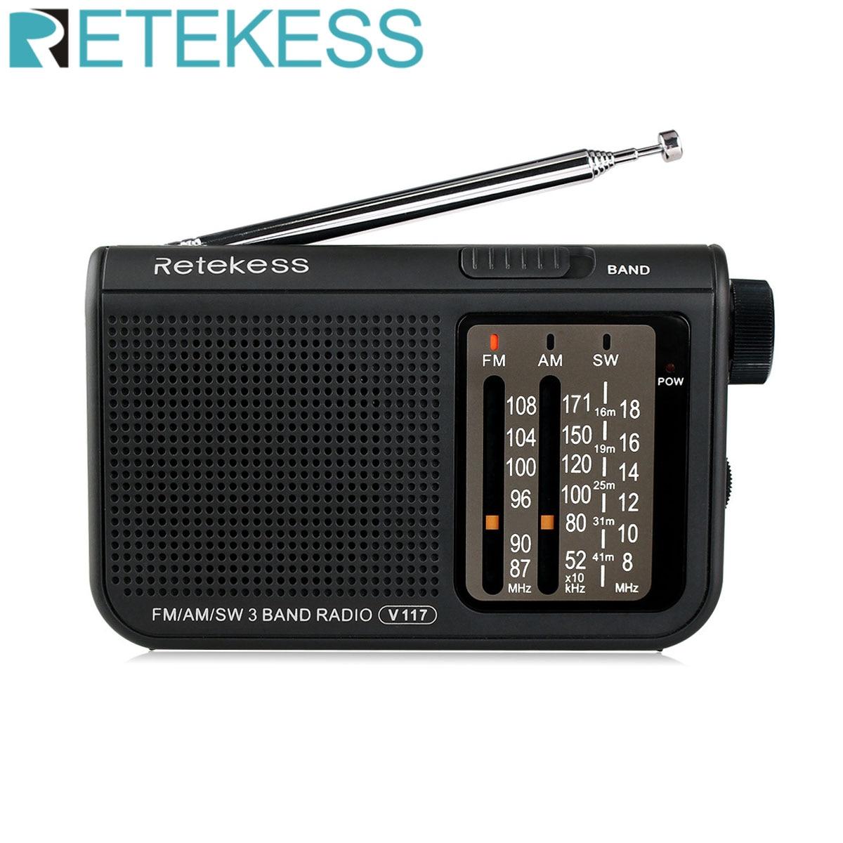 RETEKESS-Radio portátil V117 AM FM SW para personas mayores, receptor de Radio...