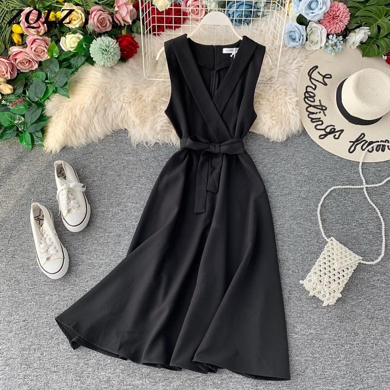 ZQLZ 2020 Summer Vintage Dress Vestido De Festa Party Tank Sundress Women Casual Elegant A-line Tie Vestidos V-neck Dresses