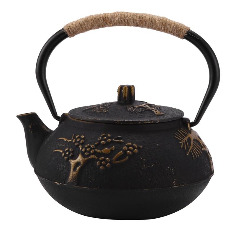 اليابانية إبريق شاي من حديد الصب غلاية مع مساعد لتحليل الفولاذ/مصفاة ، زهر البرقوق 30 أونصة (900 مللي)