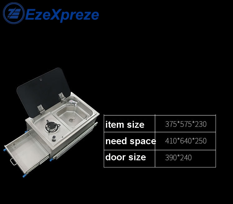 Boat Caravan RV Outdoor Stainless Steel 1 Burner Pull Type Gas Stove with Integrated Sink and Faucet 375*575*230mm Accessories enlarge