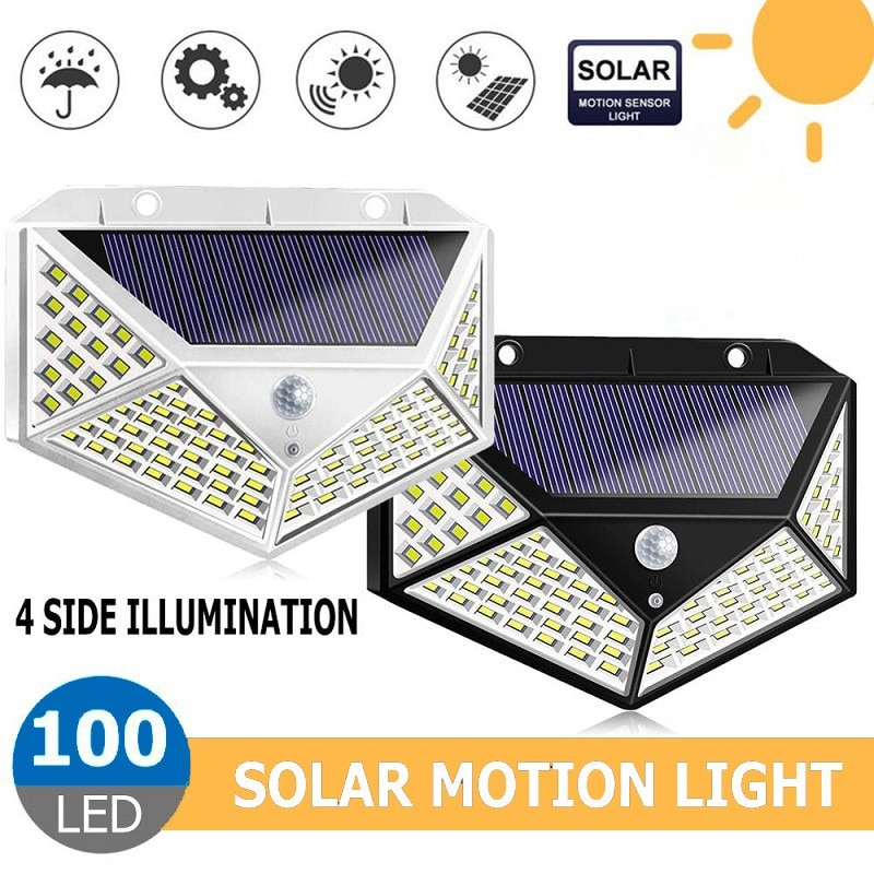 100 LED 3 Modes Solar Light Outdoor PIR Motion Sensor Wall Light Waterproof IP65 Solar Powered Lamp for Garden Fence Decoration