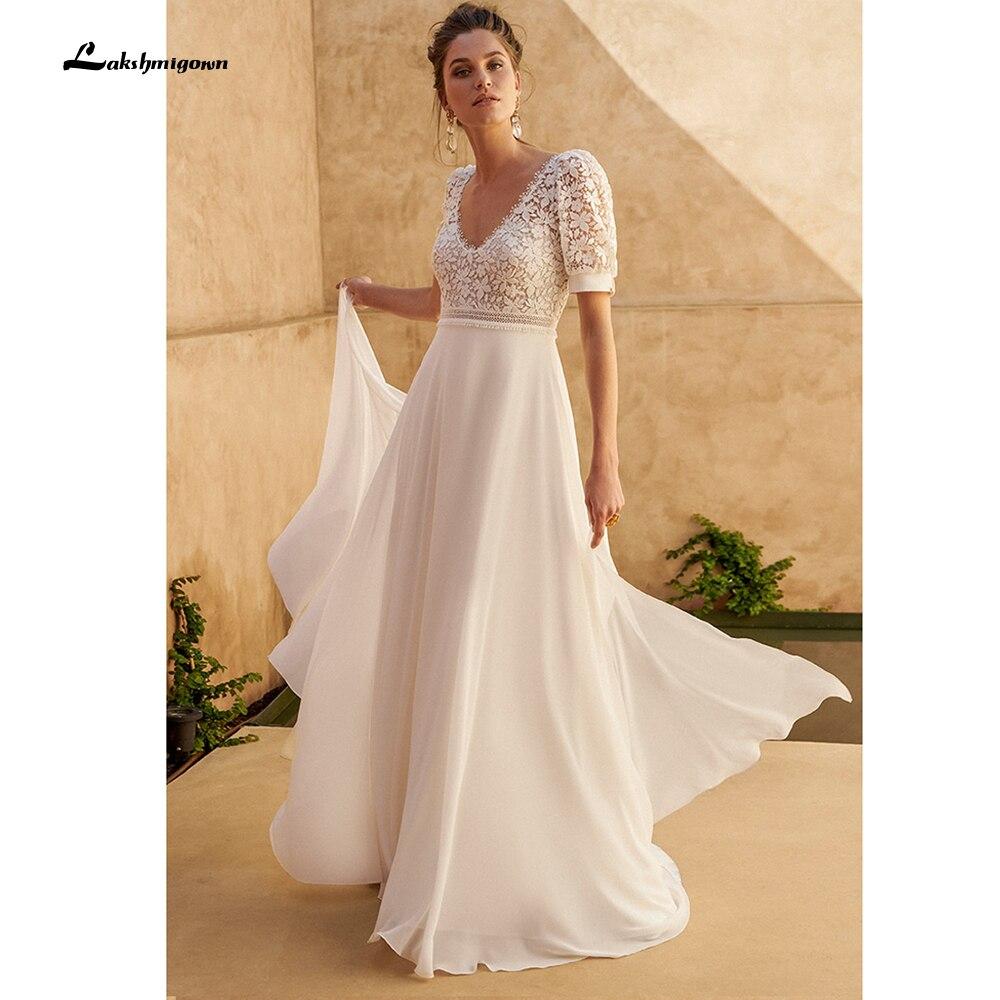 Promo Off White Beach Wedding Dress 2022 New Arrival Chiffon Boho Long Bridal Dress Lace Bodice A Line Wedding Gowns Vestido Longo