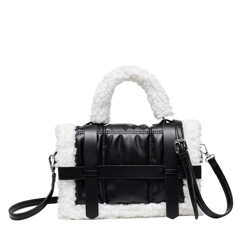 Lambskin women's bag autumn winter 2020 new fashion fashion Pu small square Bag Plush one shoulder diagonal straddle bag