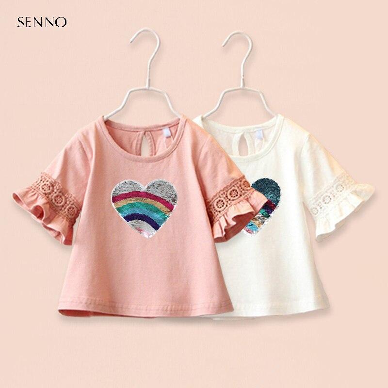 Camiseta de algodón con lentejuelas de verano para bebés, niñas lindas, princesas de encaje para niños, camiseta de media manga, blusa, Tops para niñas, ropa, 2-6T