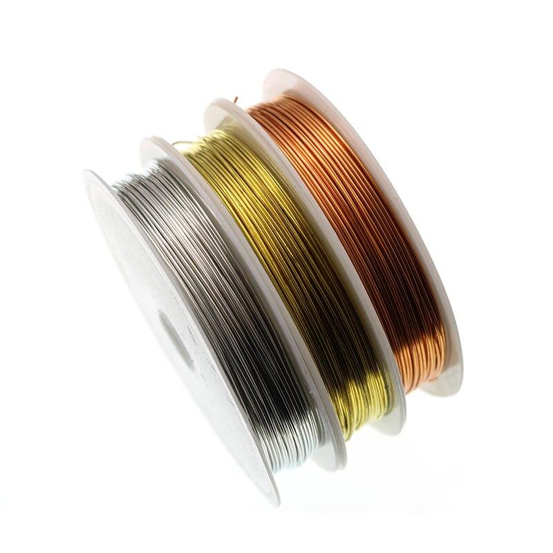 1 rollo/lote de alambre de cobre plateado para pulsera collar joyería accesorios de fabricación de bricolaje 0,25/0,3/0,5/0,6/1,0mm alambre de abalorios artesanales