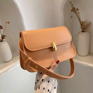 Solid Color PU Leather Large Capacity Shoulder Bags For Women Metal Lock Orange Crossbody Bags Female Handbags Luxury Designer