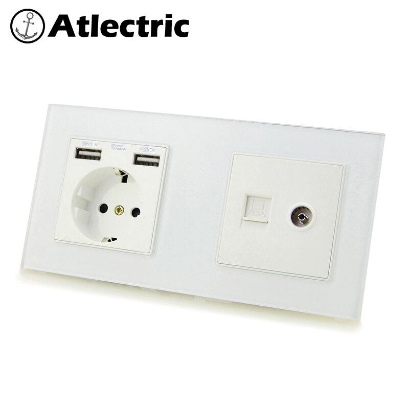 Enchufe DE pared Atlectric DE la UE DE doble USB, RJ45, puerto DE TV doble toma DE corriente salida eléctrica Panel DE vidrio indicador LED enchufes para pared tomacorriente usb