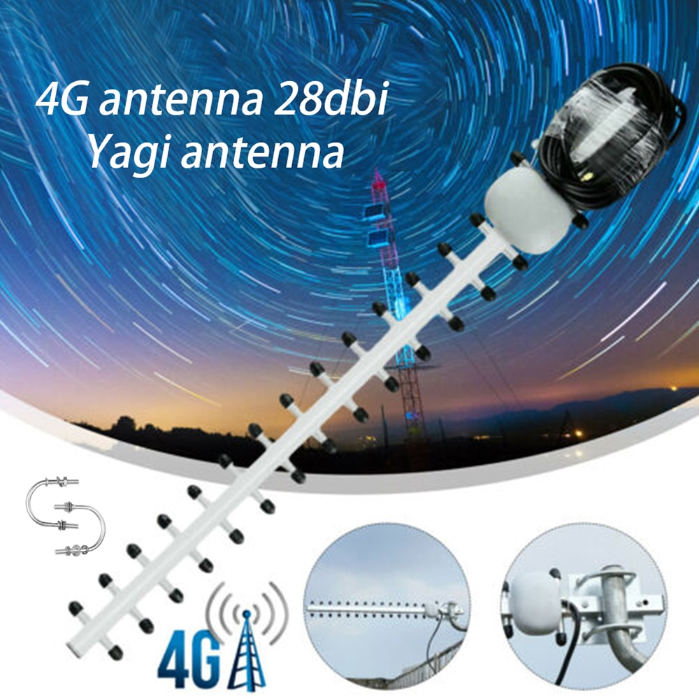 Усилитель сигнала 4G 28dbi SMA Male, усилитель сигнала Wi-Fi, LTE 4G, уличный направленный усилитель, антенный модем Yagi RG58 1,5 м