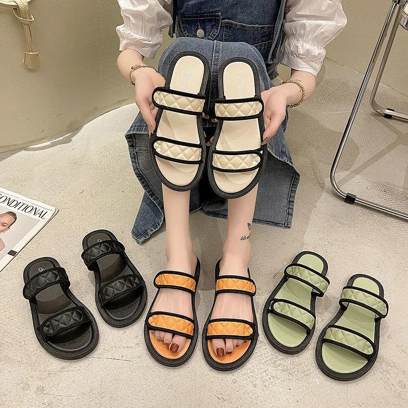 2021 Womens Sandals Summer New Fashion Flat Bottom Korean Flip Flops Beach Shoes Female Hot Selling Slippers Size 36-41