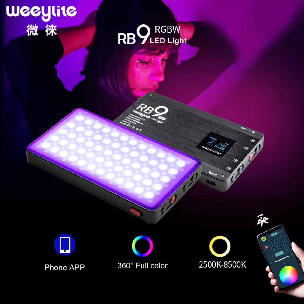 Viltrox Weeylite RB9 RGB مصباح ليد 12 واط المحمولة وظيفية كاملة كاميرا ملونة مصباح ليد قابلة للشحن و عكس الضوء الهاتف APP التحكم