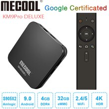 MECOOL KM9 Pro Deluxe Android 9.0 TV Box Google certifié Smart TV Box 4GB DDR4 32GB Amlogic S905X2 4K 2.4G 5G double Wifi BT4.0