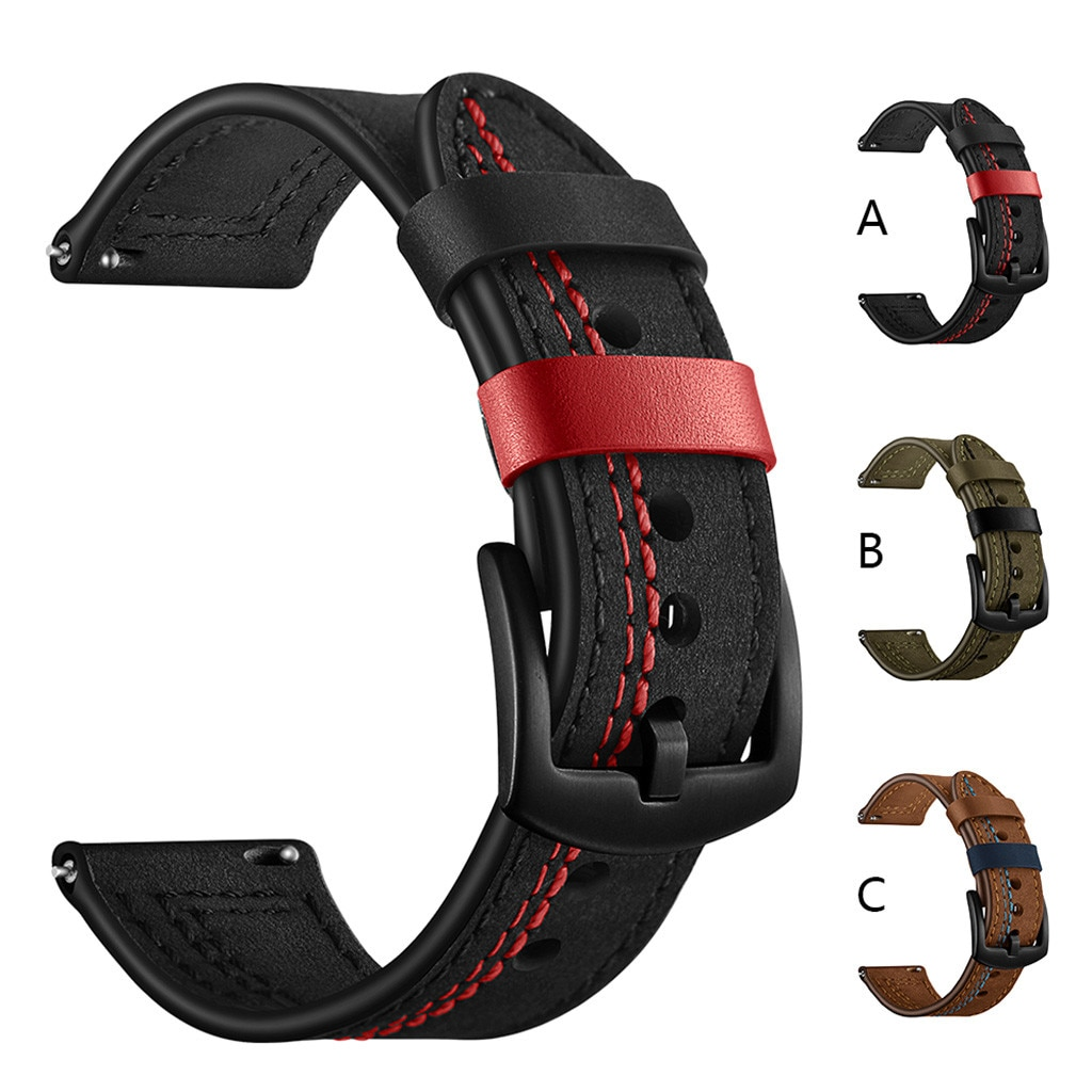 Leather Strap for Huawei Watch GT 2 Smart Strap for Samsung Galaxy Watch 46mm 42mm Bracelet Watchband 22mm 20mm Leather Strap недорого