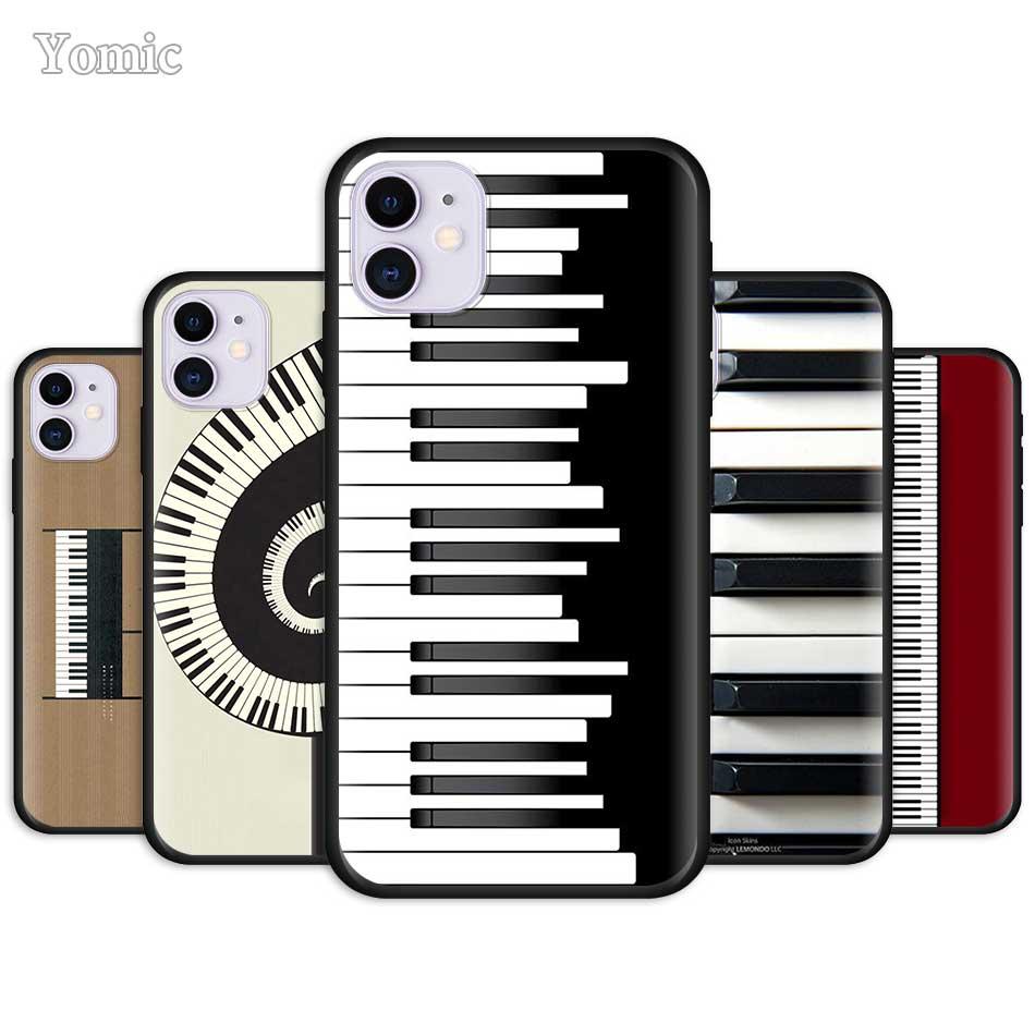 Funda de teléfono para Apple iPhone 11 Pro 7 XR 6 X XS MAX 8 6S Plus 5 5S SE 2020 TPU negro suave casos música Piano teclado