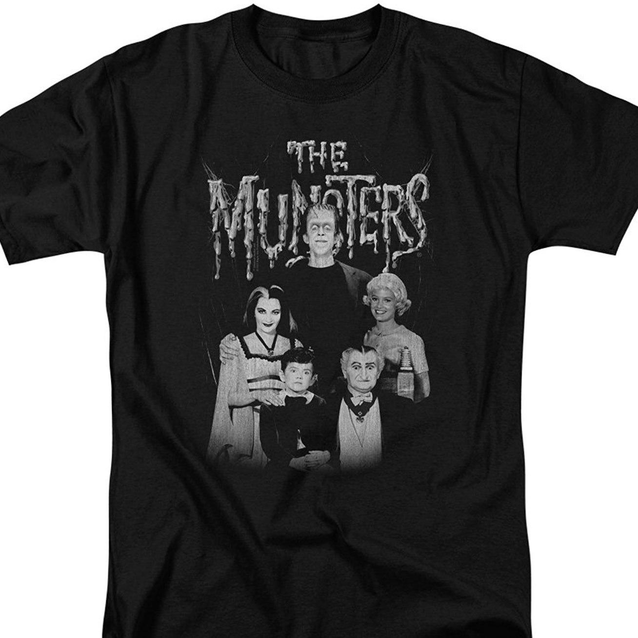 Print T-shirt Man Korte De Munsters Monster Familie Sitcom Tv Show Familie Portret Volwassen T-shirt Tee 035424