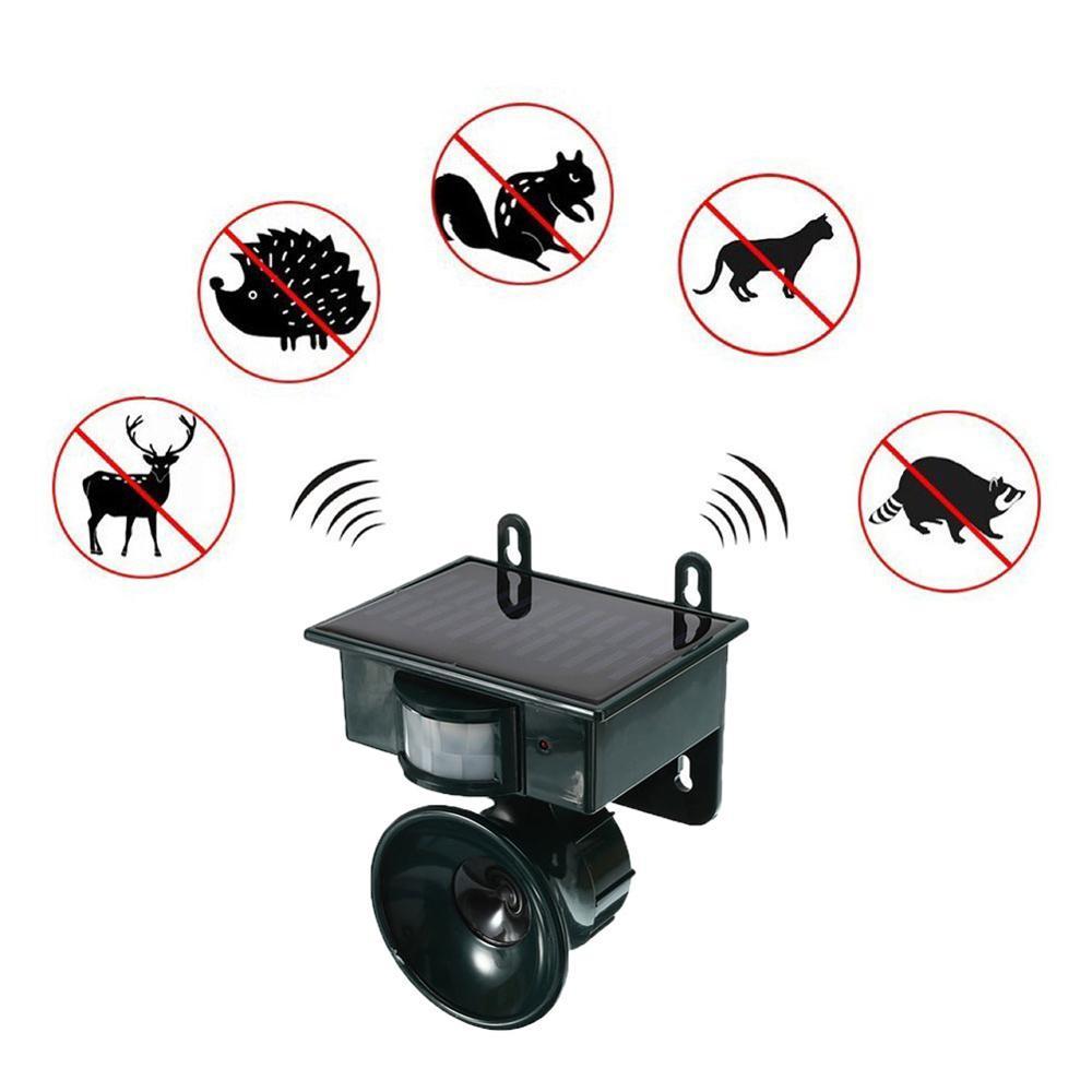 Outdoor Solar Pest Repeller Garden Ultrasonic Animal Bird Cat Dog Mouse Rat Fox Repellent