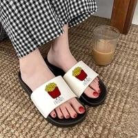 2021 women slippers best friend slippers hamburger and fries pizza harajuku ulzzang summer fashion flip flops