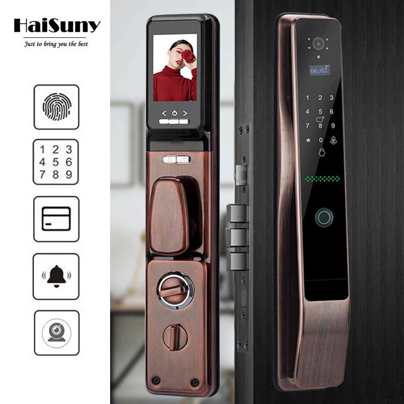 HAISUNY Biometric Fingerprint Lock Password, Key, IC Door Card, APP Unlock Home Smart Door Lock Electronic locks Doorbell lock