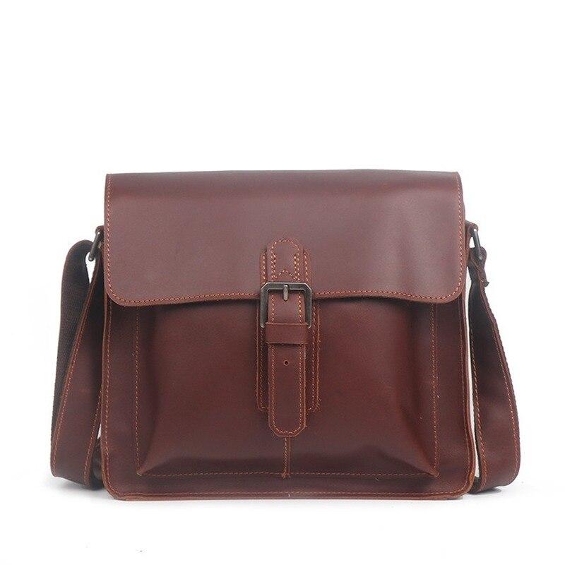 حقيبة كتف حقيبة رجالية جديدة مجنون الحصان الجلود حقيبة ساع عادية صندوق مربع صغير موضة بسيطة اليدوية حقيبة جلدية باد