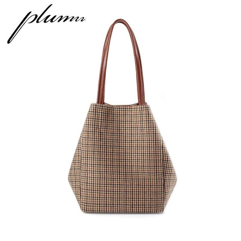 Plumn bolso de mujer de gran capacidad Simple Check bolso de hombro portátil