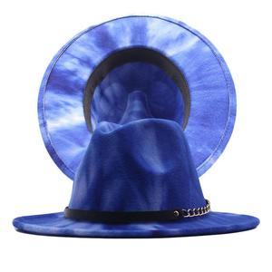 2021 New Tie-dye Men Women Wide Brim Wool Felt Jazz Fedora Hats British style Party Formal Panama Cap Autumn Winter Dress Hat