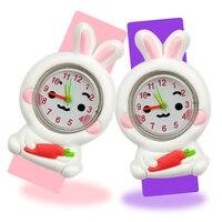 Часы Детские с Белым Кроликом, подарок для девочек, игрушка с силиконовым ремешком, наручные, для детей