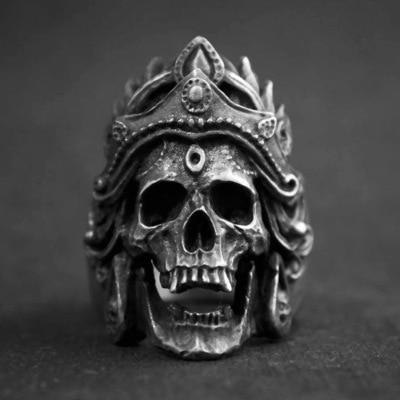 New Arrival Punk Rock Mahakali kask czaszka Biker pierścionki stal nierdzewna Vintage Ring
