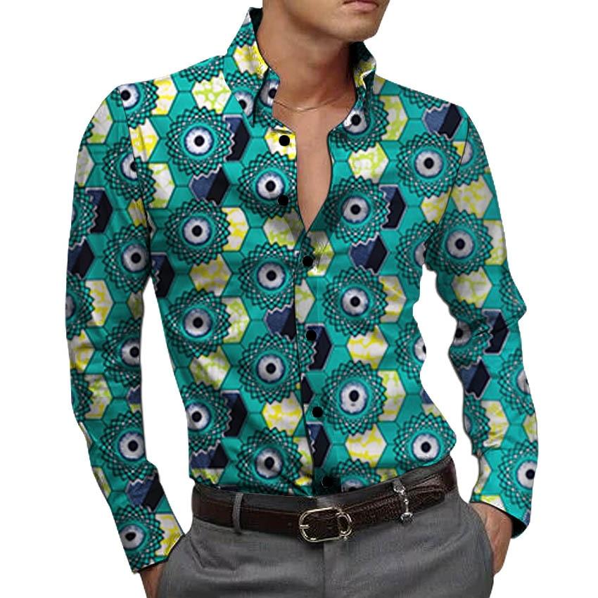 Ankara shirt männer der Afrikanischen hemden mode drehen unten kragen tops sommer langarm hemd männlichen Afrikanische kleidung
