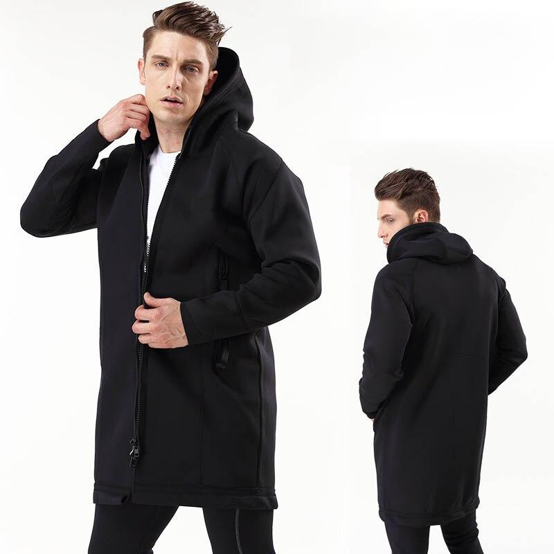 Chaqueta de neopreno de 2mm para buceo térmico, rompevientos, Chaqueta larga con capucha para exterior e invierno, chaqueta impermeable para hombre, abrigo de Montañismo a prueba de viento