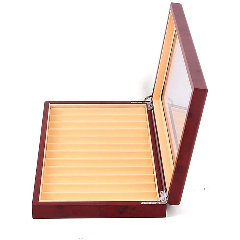 12 ranuras de madera pluma caja de visualización pluma fuente caja de almacenamiento de madera escaparate organizador