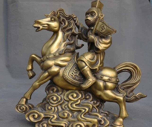 Estatua de caballo Feng Shui chino de 12 pulgadas de bronce de buen augurio rey monkey