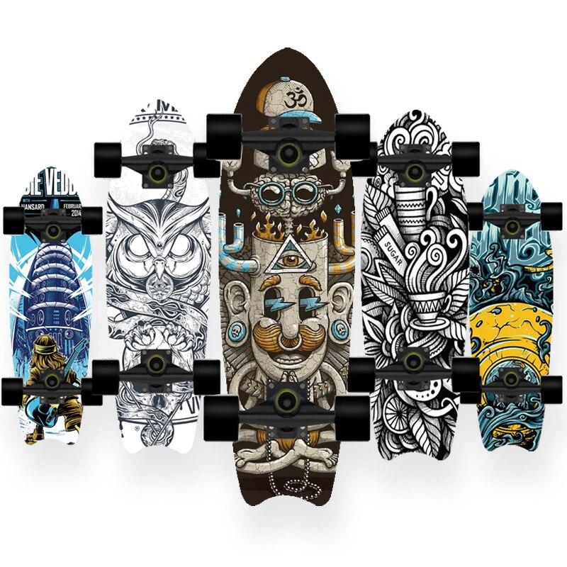 Скейтборд BZ 2021, двойной вертикальный четырехколесный скейтборд, скейтборд, Пенни борд, длинная доска, длинная доска, колода hb0101