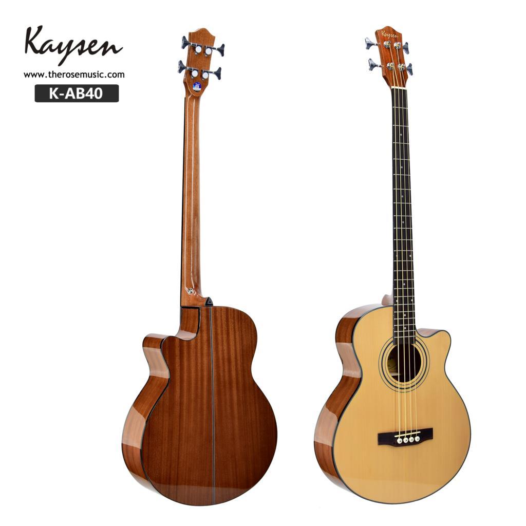 Guitarra Eléctrica acústica de bajo 4 cuerdas de acero 43 pulgadas en forma de abeto Sapele Highgloss Cutaway Pick Up Electro Tuner