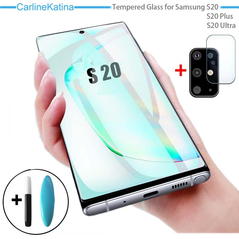 УФ закаленное стекло для Samsung Galaxy S20 Ultra S20Plus S 20 защита экрана 2-в-1 стекло объектива для Samsung S20 Plus пленка для камеры