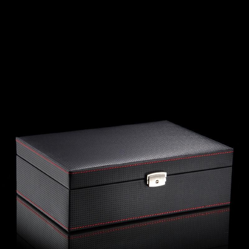 Luxury Carbon Fiber Watch Box Organizer Leather Black Storage Box Bracelet Jewelry Watch Box Case with Lock Display Box Gift enlarge