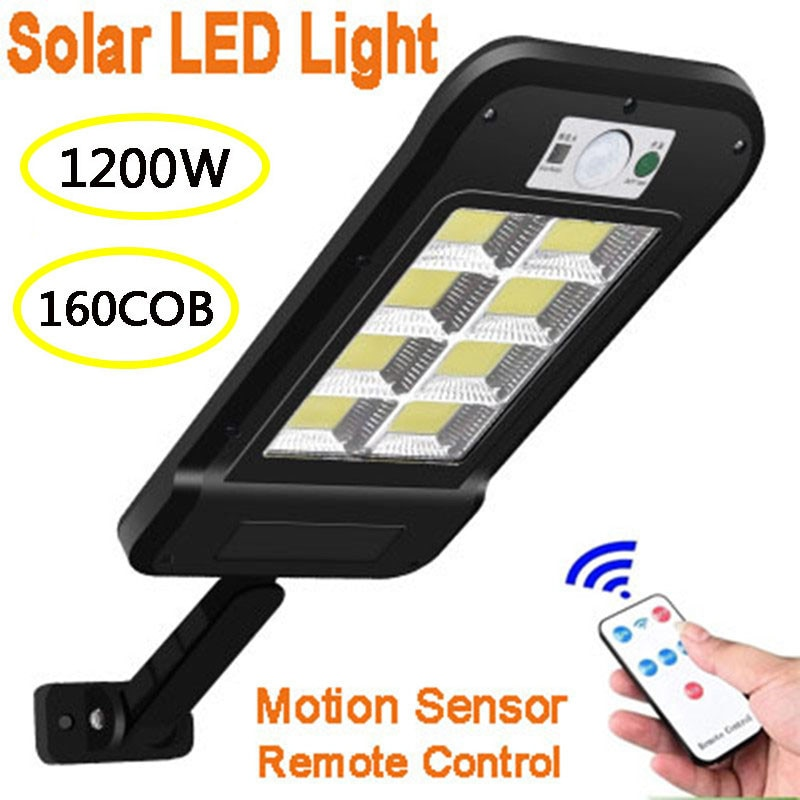 160 COB Solar LED Street Light Waterproof PIR Motion Sensor Smart Remote Control Lamp 1200W Outdoor Garden Security Wall Light