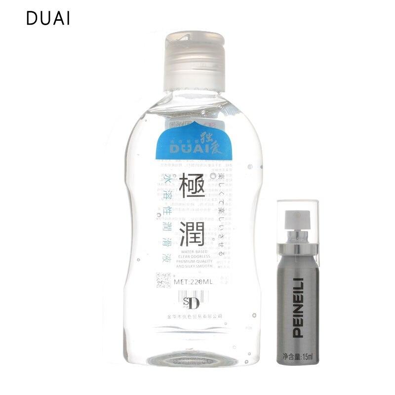 DuAi 220ML lubricante Personal soluble en agua para sexo Anal sin grasa + 15ml de retraso Masculino spray de 60 minutos