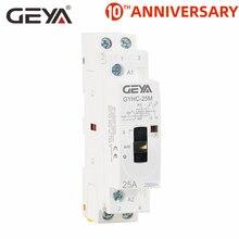 GEYA GYHC модульный контактор 2P 16A 20A 25A 2NO или 2NC 220V ручной контроль бытовой контактор din-рейка