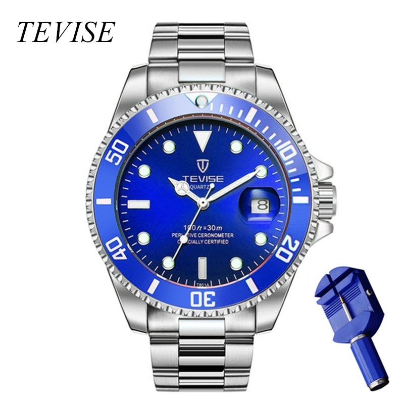 TEVISE Gold Watch Men Calendar Luxury Waterproof Watches Man Business Wrist Watch Stainless Steel Me