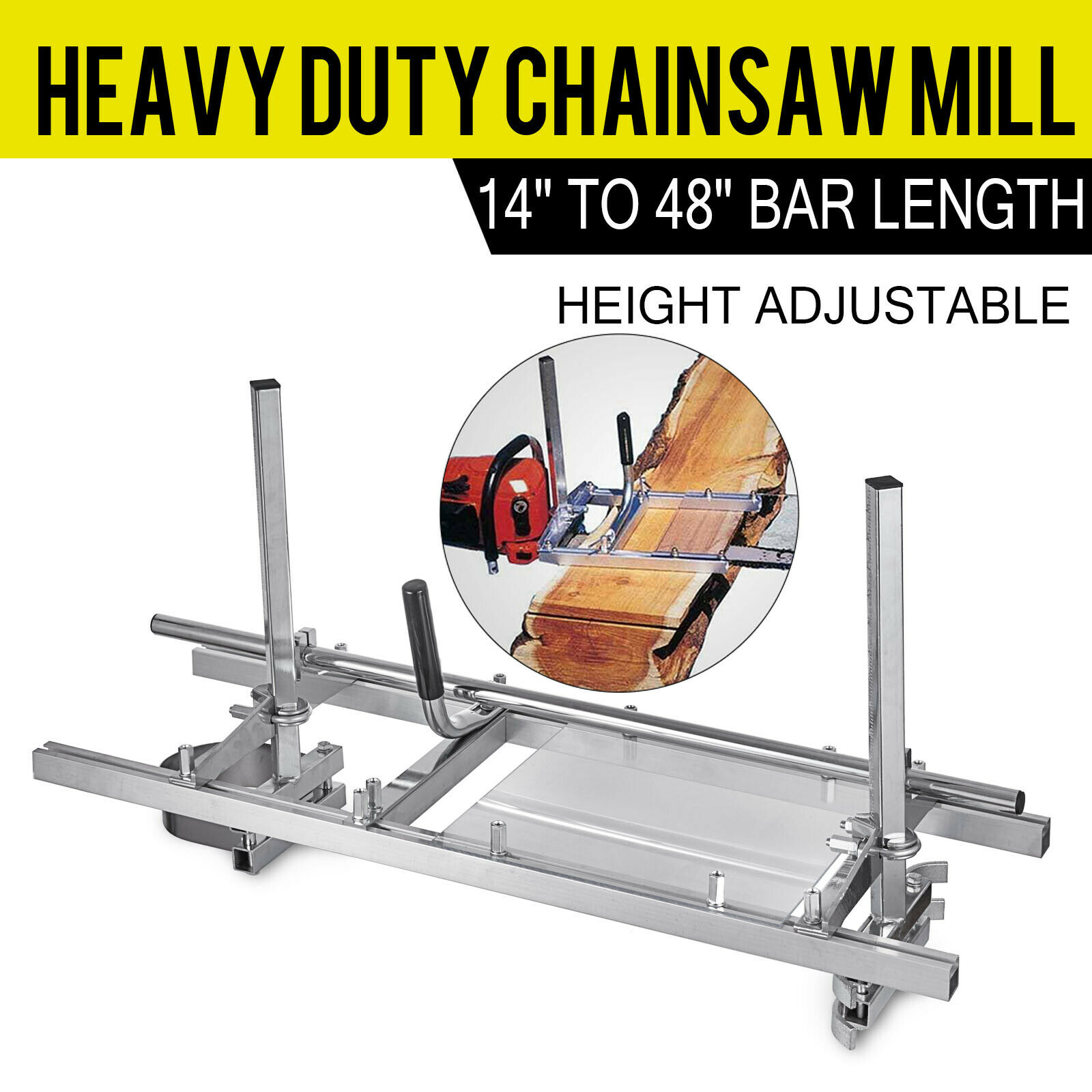 Chainsaw Mill Planking Milling 48 Inch Wood DIY Tools Guide Bar Wood Lumber Cutting Portable Sawmill Aluminum Steel Chain Mill