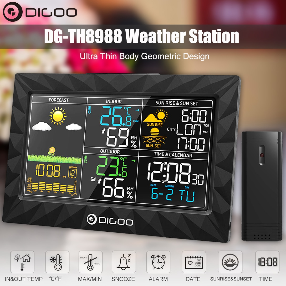 DIGOO DG-TH8988 LCD Color Weather Station + Outdoor Remote Sensor Thermometer Humidity Snooze Clock