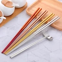 2pcs high grade stainless steel chopsticks anti mildew and anti slip adult children tableware gold and silver extended chopstick