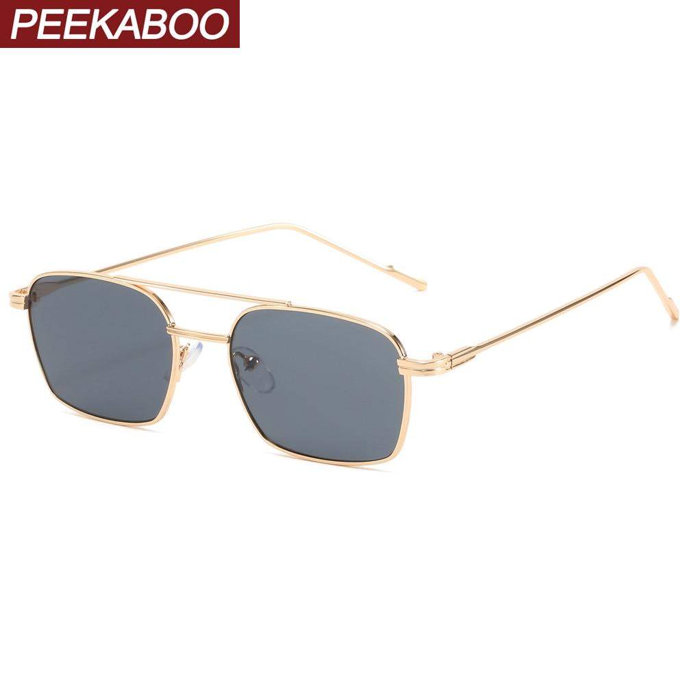 Солнцезащитные очки Peekaboo в металлической оправе, унисекс, uv400, с квадратной оправой, золотистые черные, в стиле ретро, 2021
