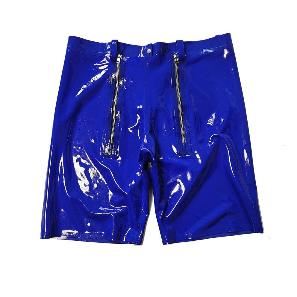 اللاتكس الذكور الملاكم الأزرق الداكن المطاط الطبيعي السراويل مع المنشعب قطعة مصممة خصيصا RPM038