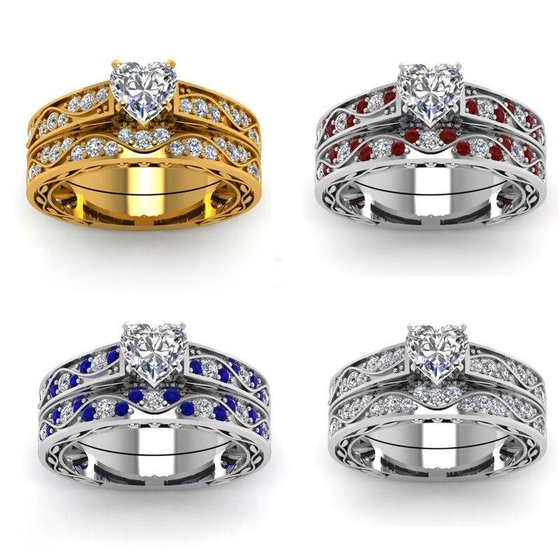 Conjunto de anillos de compromiso de cristal de moda para mujer, joyería de boda femenina, elegantes anillos de circonita blanca en forma de corazón, regalo de banda de boda
